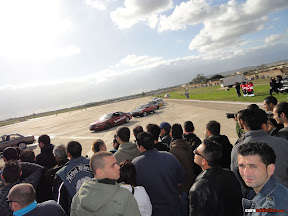 Crowd watching drift cars line up