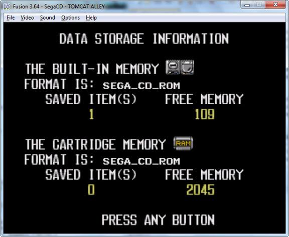Emulador Fusion recria também o cartucho de RAM do Sega CD