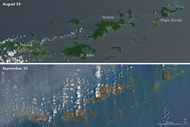 These natural-color images, captured by the Operational Land Imager (OLI) on the Landsat 8 satellite, show some of Irma's effect on the British and U.S. Virgin Islands. The views of St. Thomas, St. John, Tortola, and Virgin Gorda were acquired on 25 August 2017 and 10 September 2017, before and after the storm passed. Photo: Joshua Stevens / NASA Earth Observatory