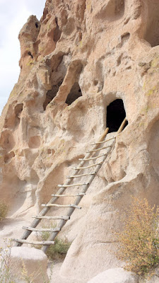 These cave rooms in the Bandelier National Monument, classified as cavates, were dug out of the cliff wall.