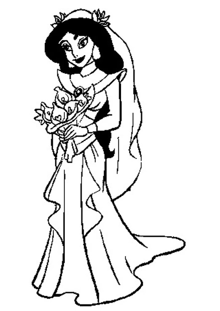 Cute Princess Jasmine Coloring Pages Jasmine In Wedding Dress Full  Version