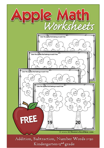 FREE Apple Math Worksheets - addition, subtraction, number words for Kindergarten, 1st grade, 2nd grade