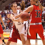 Montana forward Carly Selvig fires a pass towards the baseline mid-way through the first period of Monday's game.  Selvig had five points, rebounds, and assists on the way to a 85-47 victory.  Dahlberg Arena in Missoula, Mont., November 5th, 2012.