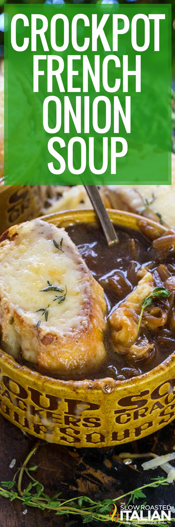 Bowl of Crockpot French Onion Soup