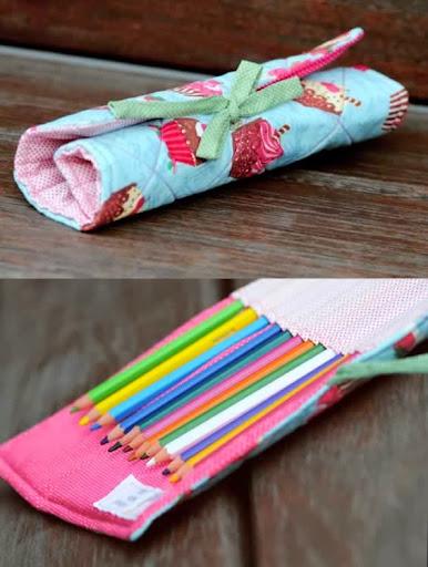 Estojo de lápis em patchwork