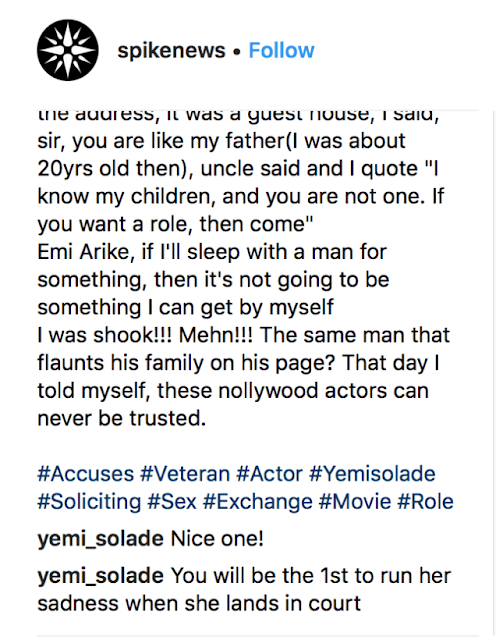 Upcoming Actress Accuses Actor Yemi Solade Of Demanding Sex From Her For Role – He Reacts (Photos)