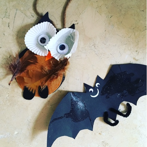halloween craft ideas, owl and bat