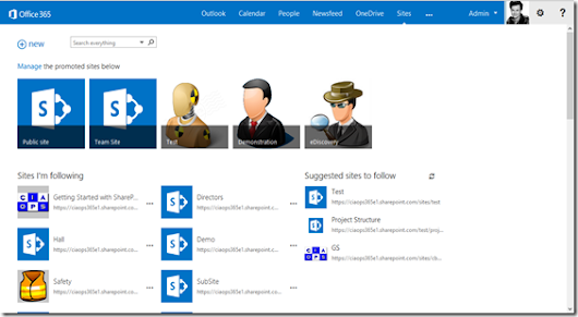 New SharePoint Online Sites page