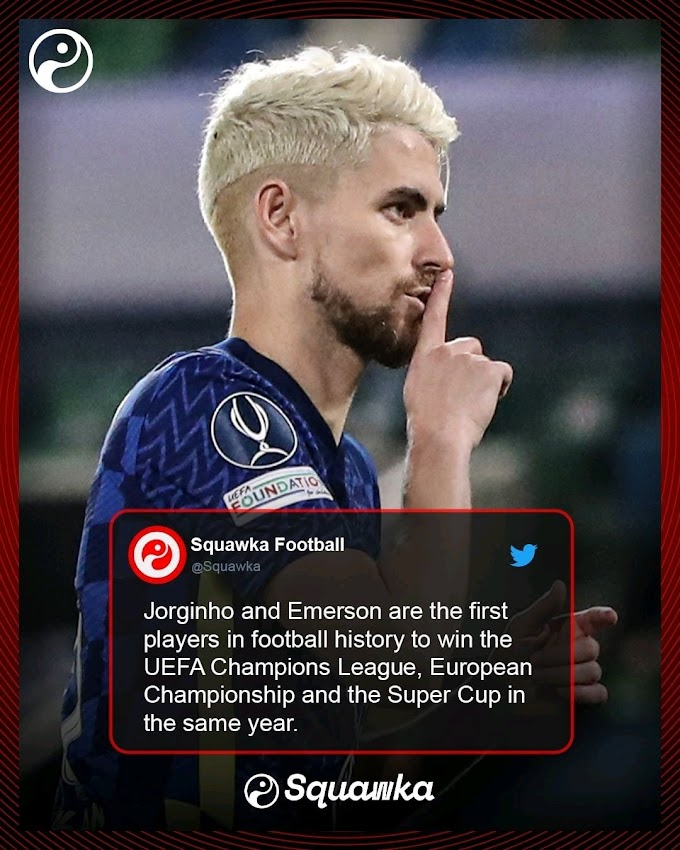 Jorginho and Emerson are the first players in football history to win UEFA, ECC, SC, in the same year