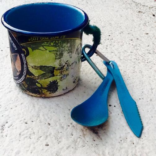 reusable mug, reusable cutlery, plant faced travel