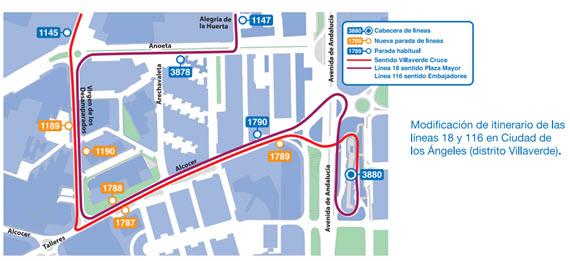 Las líneas 18 y 116 de la EMT prolongan itinerario hasta el Centro de Salud Los Ángeles