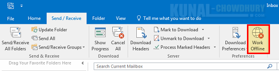 Here's how to switch new Outlook versions to offline mode (www.kunal-chowdhury.com)