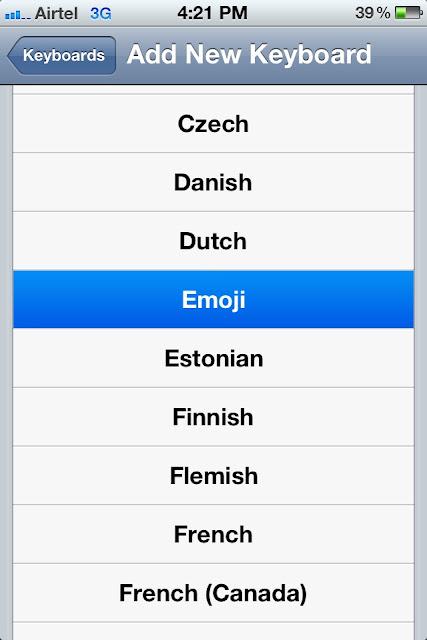 Activate emoji or smileys in iPhone iPad Keyboard