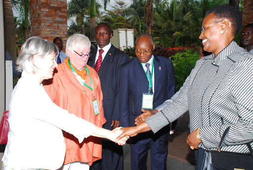 H.E. Mrs Museveni, First Lady of Uganda, Ms. Janet Jackson, Representative, UNFPA Uganda