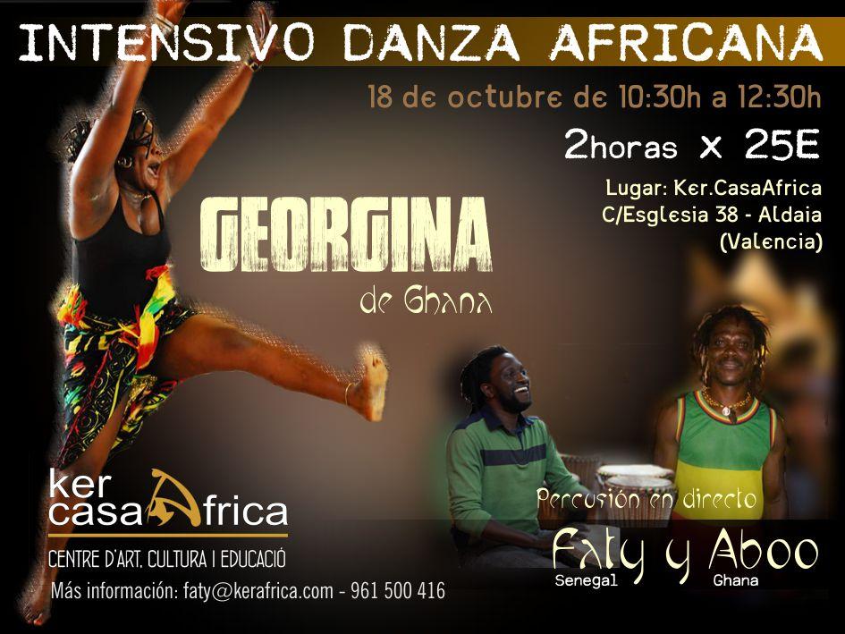 Georgina, bailarina formada en Ghana. Actualmente da clases de danza africana en EEUU , además de realizar giras por diferentes pares del mundo. El próximo 18 de octubre realizará un intensivo de danza africana en Ker.CasaAfrica C/Esglesia 38- Aldaia (Valencia) www.kerafrica.com Telf 961 500 416.  Taller de 10:30 a 12:30  por 25€, Contaremos con percusión en directo con Aboo y Faty.  Preparate para disfrutar, sentir, y bailar, sobreto bailar!!