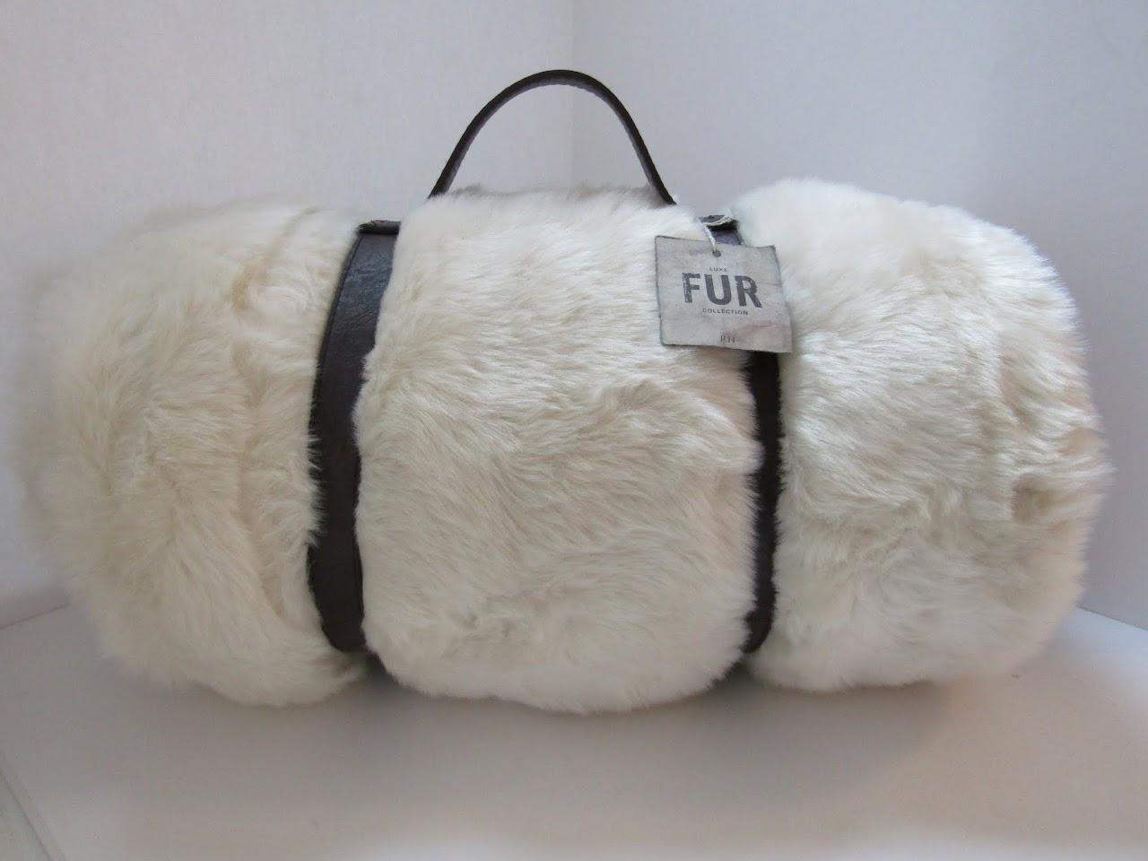 Restoration Hardware Faux Fur Blanket and Handle