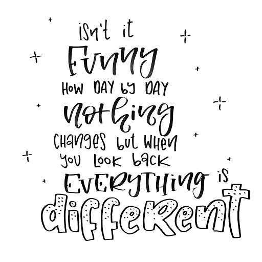 Isn't it funny how day by day nothing changes but when you look back everything is different