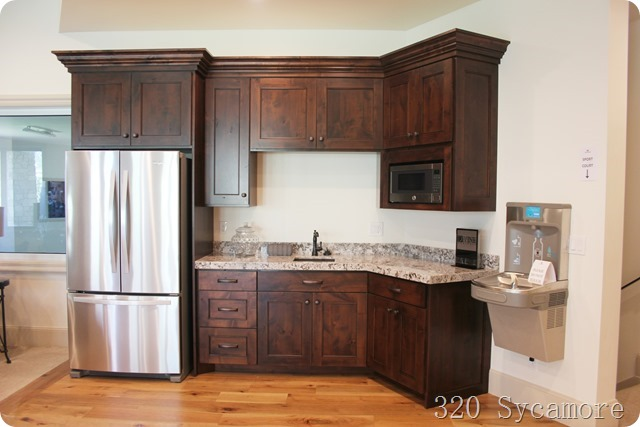 basement kitchen dark wood