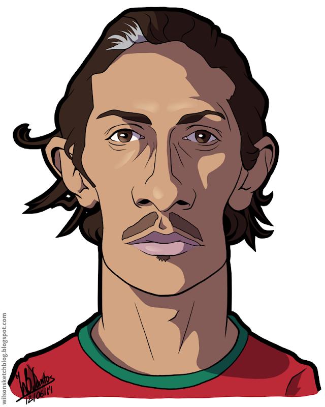 Cartoon caricature of Bruno Alves.