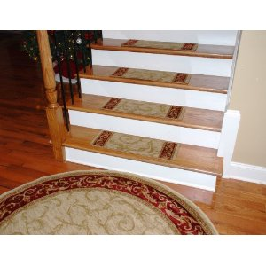 Click Here To Get Premium Carpet Stair Treads Tan Scrollworks Plus A Matching 5 3 Round Rug Free Super Save Shipping
