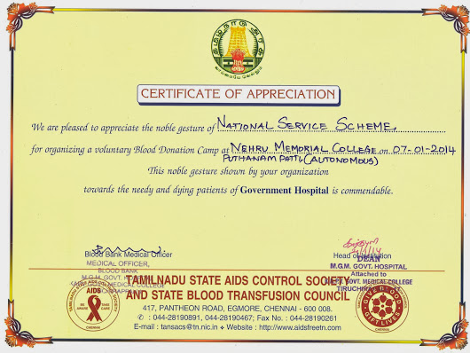 Appreciation certificate of blood donation camp at nmc yadclub Gallery