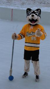 MTU Mascot Ready for Broomball