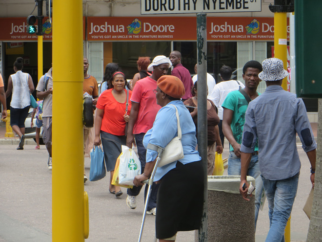 straathoek, stadcentrum Durban, Zuid Afrika