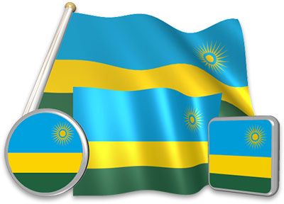 Rwandan flag animated gif collection