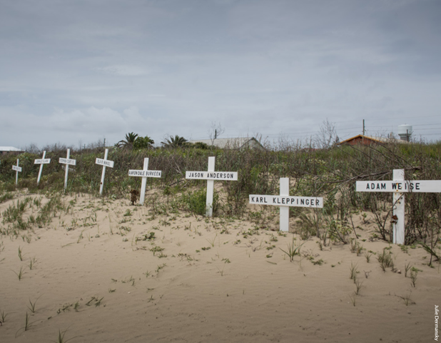Memorial on Grand Isle, Louisiana for crew members killed in the Deepwater Horizon disaster, April 2015. Photo: Julie Dermansky