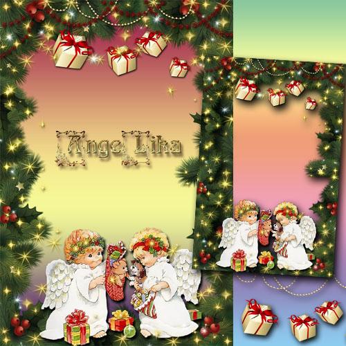 Праздничная рамка для фото - Рождественские ангелочки