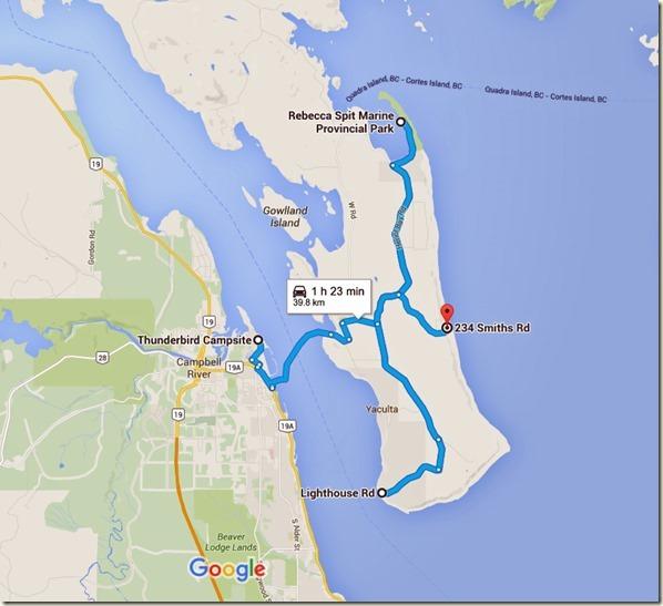 Thunderbird Campsite to 234 Smiths Rd, Quathiaski Cove, BC V0P 1N0 - Google Maps