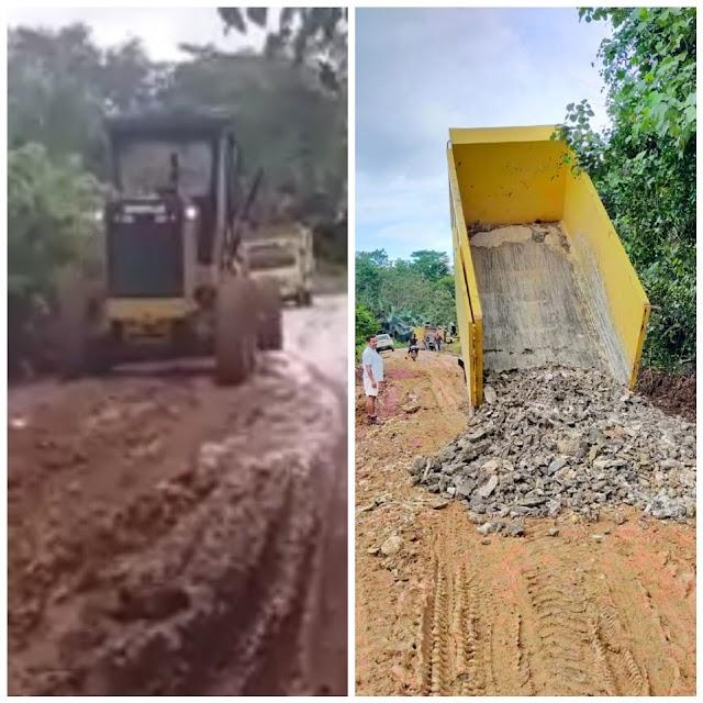 Badan Jalan Rusak di Daratan Pulau Laut Kotabaru PT MSAM Lakukan Perbaikan