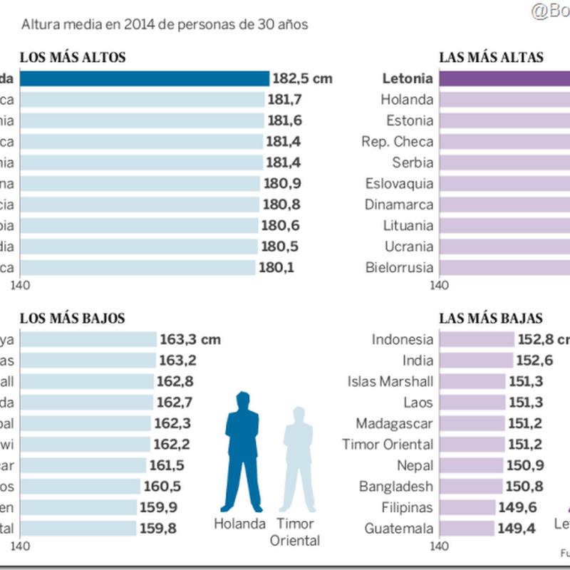Estudio muestra quiénes son los más altos y bajos del mundo