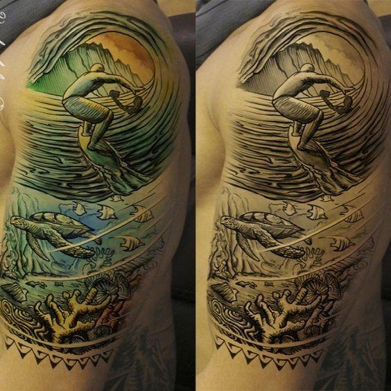 auto-croquis_de_surf_braço_de_tatuagem