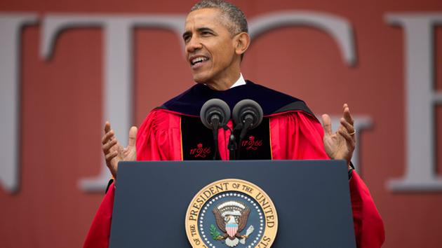 Obama disparages Trump in commencement speech