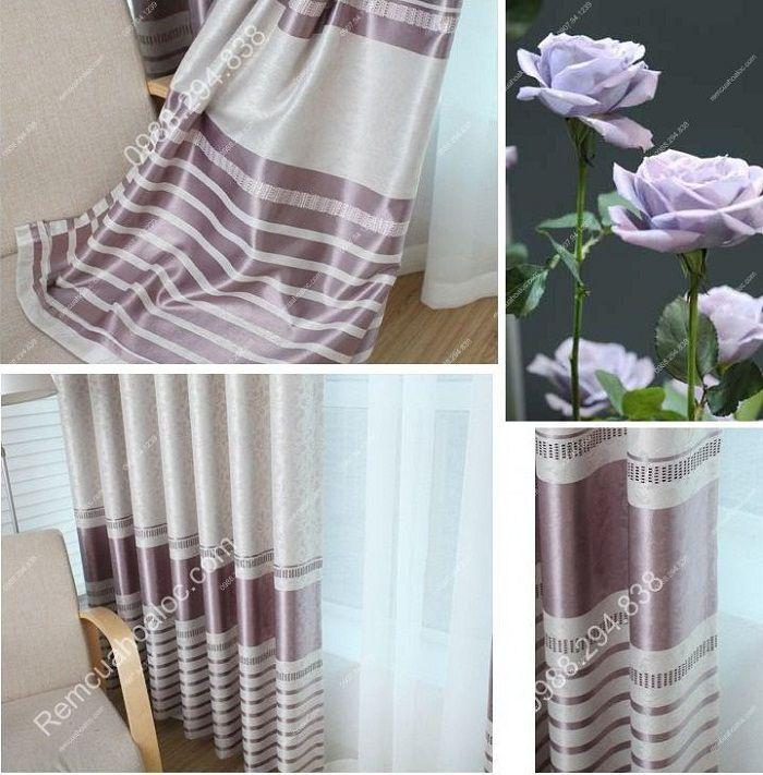 Rèm cửa đẹp cao cấp một màu tím nhạt 4