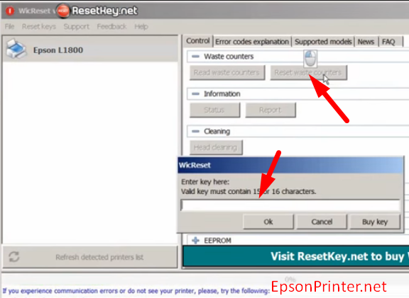 Reset Epson ET-2550 printer