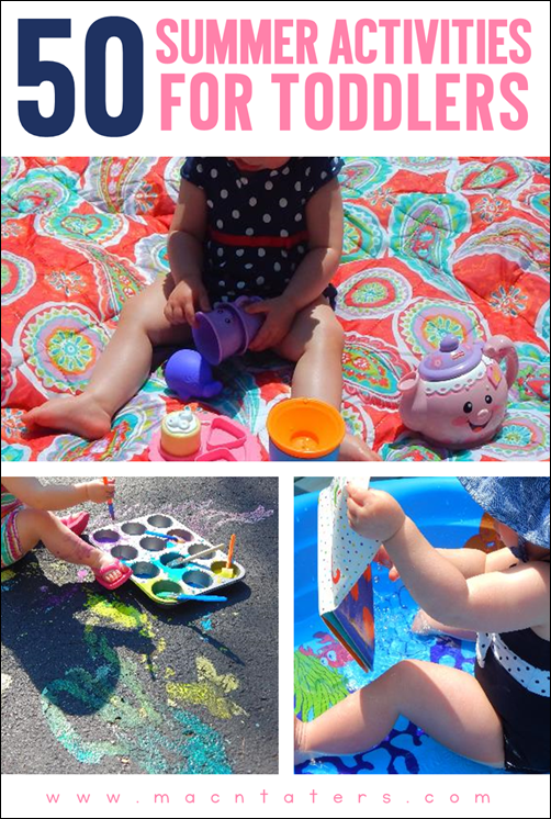"This post has a printable summer ""bucket list"" for toddlers and children featuring 50 fun activities. These are great activities that would be perfect for family date nights/date days. Your kids will have a blast going through the list this summer."