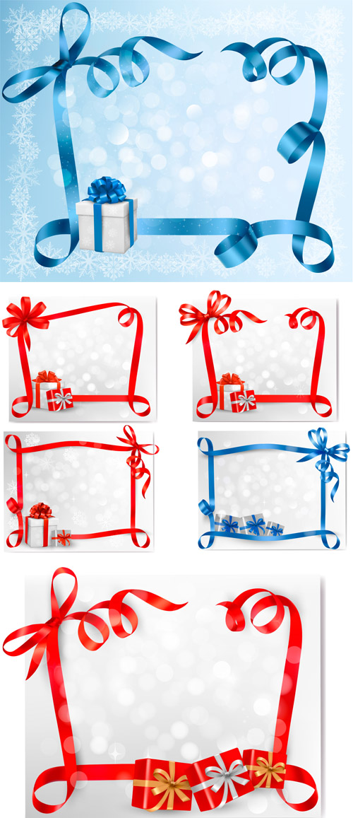 Stock: Holiday background with bow with gift boxes