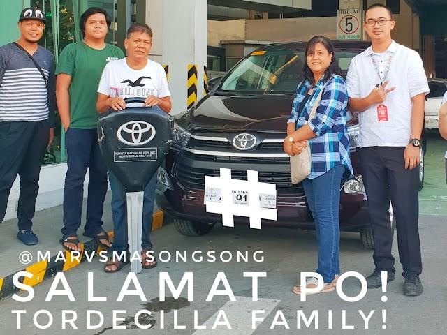 Salamat po Tordecilla family of Lemery, Batangas for availing Toyota INNOVA!