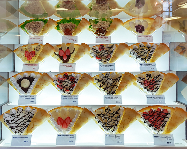 photo of the different kinds of crepes served at Marion Crepes