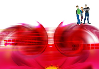 Ben Ten 10 and Friends Wallpapers Gwen and Kevin in Classic Moon Flower background