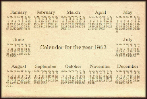 Calendar for the year 1863