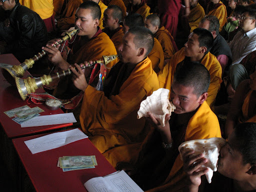 Monks offering music during long life puja at Kopan Monastery, December, 2008.