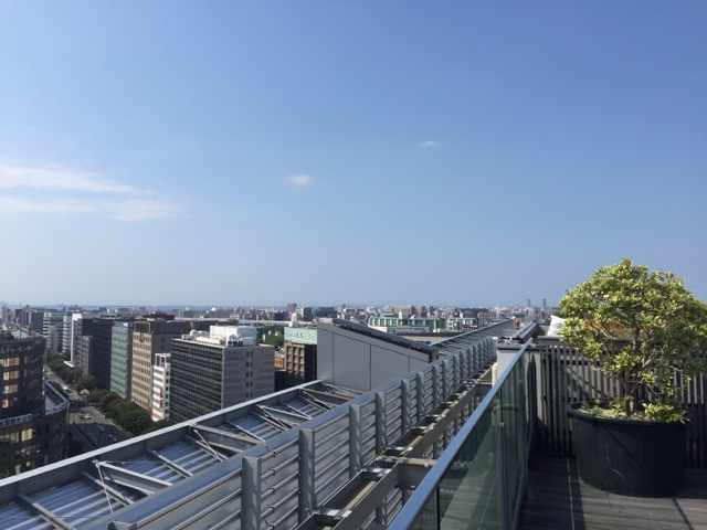 View of Fukuoka city from the top of Hakata station