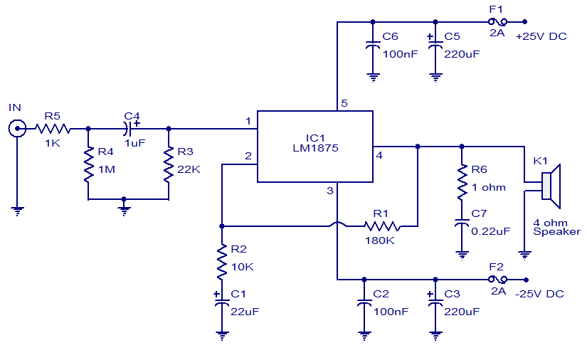 lm1875 20w audio amplifier circuit and explanation