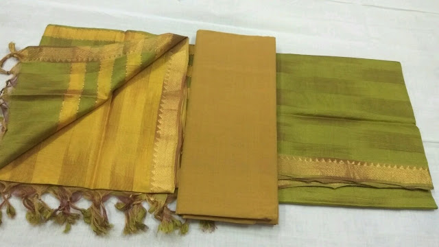 Green color Mangalagiri Semi Silk Dress materials