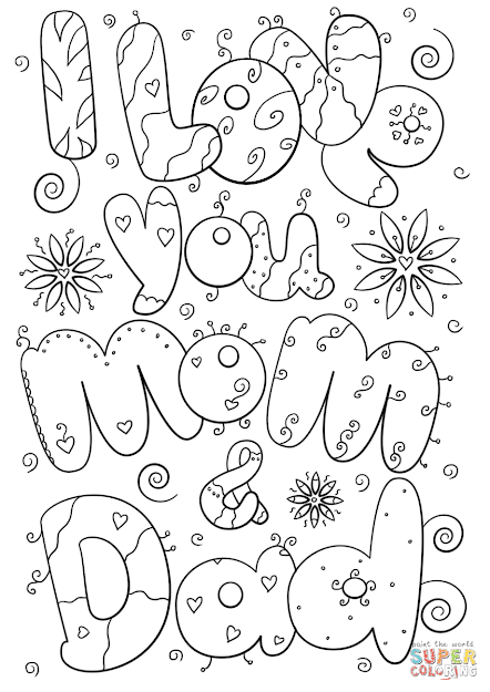 Click The Love You Mom And Dad Coloring Pages