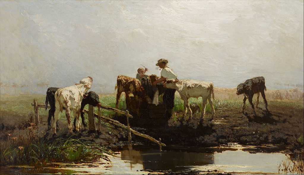 Willem Maris - Calves at a trough - Google Art Project