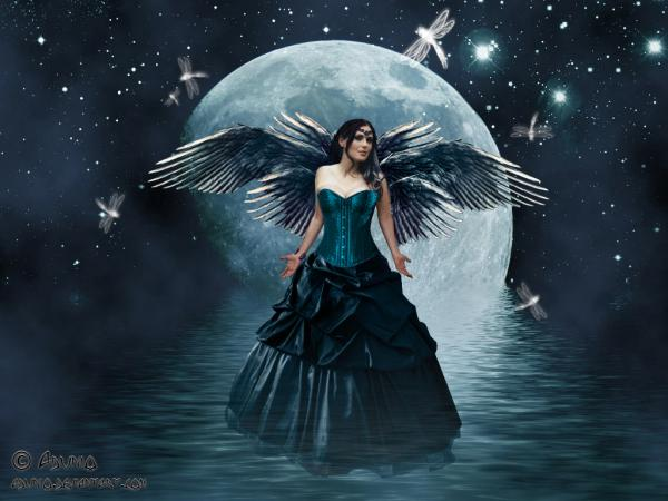 Moon Fairy Angel On The Lake, Moon Magic